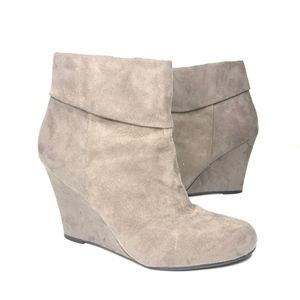 Report Riko Faux Suede Wedge Ankle Booties Tan